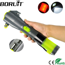 BORUiT Multifunction 3 LED Flashlight USB Hand Recharging Flash Light Power Bank Tactical Torch Compass Portable
