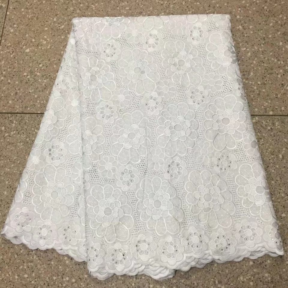 5 Yards/pc New fashion white african cotton fabric embroidery swiss voile lace for clothes BC16-85 Yards/pc New fashion white african cotton fabric embroidery swiss voile lace for clothes BC16-8