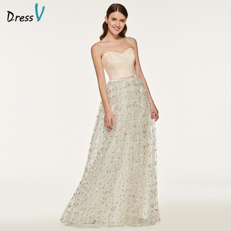 Dressv Bridesmaid Long Dress Sweetheart Neck A Line Sleeveless Lace Sashes Elegant Flowers Custom Wedding Party Bridesmaid Dress