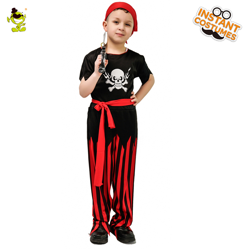 2018 Hot Sale Boys Pirate Party Costumes Kids Cool Suit Halloween Pirates of the Caribbean Christmas Halloween Party Costume