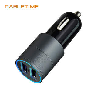 CABLETIME Car Charger Dual USB Ports LED Display Fast Charger 4.8A Mobile Phone Universal Compatible Travel Adapter Charger N112