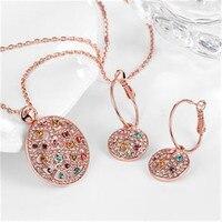 Orange cor zircão strass rodada rose gold mulheres jóias conjuntos brincos/pingente/colar dom gratuito saco de veludo