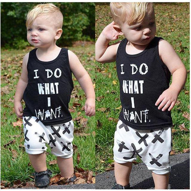 e797e469862a HOT Newborn Baby Boys Summer Clothes Set Boys Cotton Tops Vest+Short ...
