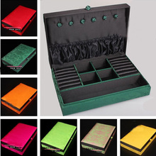 Chinese Vintage Silk Square Rings Earrings Pendant Jewelry Box Craft Gift Set