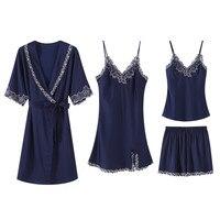 Women Satin Kimono Bathrobe Gown Sexy Nightwear 2PCS Robe Set Lace Trim Sleepwear Geisha Nightgown Home Dress Intimate Lingerie