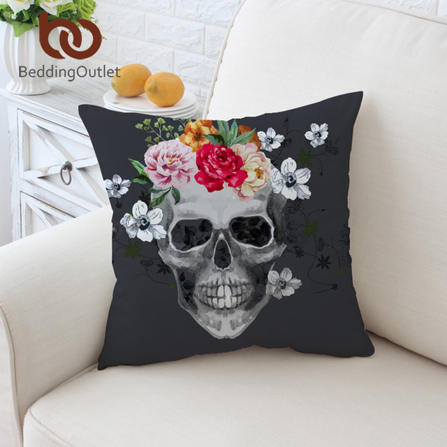 US $3.88 40% OFF|BeddingOutlet Sugar Skull Cushion Cover Floral Pillow Case  White and Black Throw Cover for Sofa Decorative Pillow Covers 45x45cm-in ...