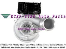 GTB1752VLK 780502 780502-0001 282312F100 + Actuator Turbo For KIA Sedona Sorento Carnival VQ CRDi For Hyundai Santa Fe R2.2 2.2L