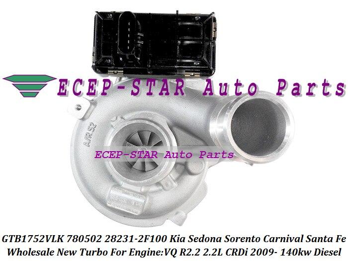 GTB1752VLK 780502 780502-0001 282312F100 + actionneur Turbo pour KIA Sedona Sorento carnaval VQ CRDi pour Hyundai Santa Fe R2.2 2.2L