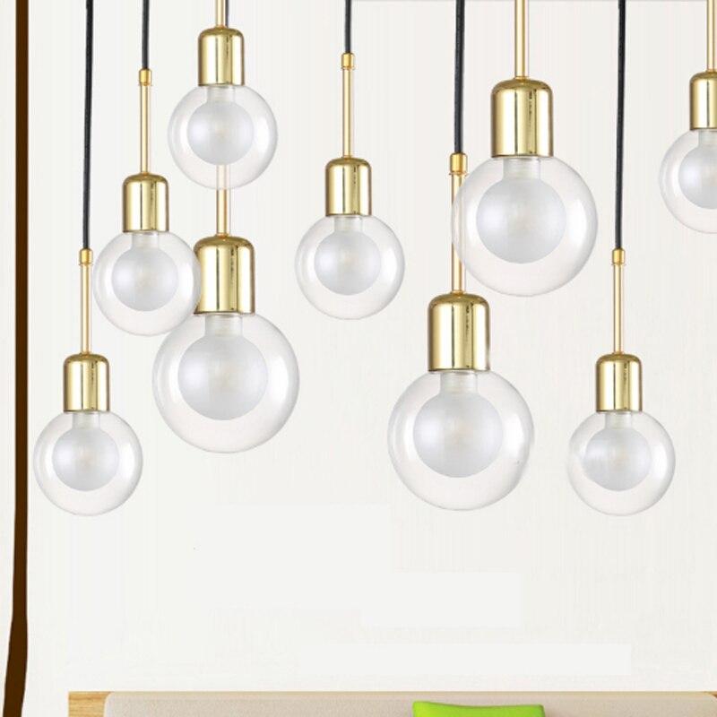 Moderne minimaliste grande ampoule design unique tête suspension lampe en verre transparent LED G9 éclairage pour chambre chevet décoration