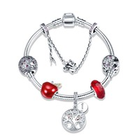 100% 925 Sterling Silver tree of Life and red apple charms beads Bracelets & Bangles Fashion diy Jewelry making for women gift