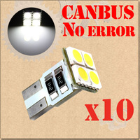 10pcs T10 4 SMD Pure White CANBUS OBC Error Free W5W LED car Bulbs 501 dash lamp Lights Car Light Source parking 12V