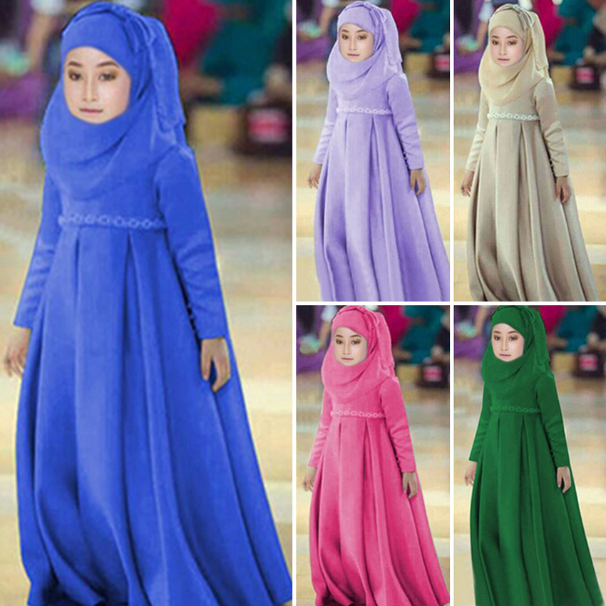 100-130cm Children Girls Hijab+dress Clothing Set Solid Polyester Kids Girls Muslim Islamic Costumes Elegant Arabic Gown