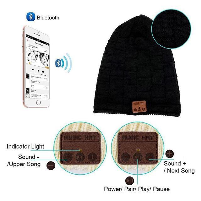Bluetooth Headphone Music Audio Hat Cap Wireless Headset with Speaker Mic Hands Free for Women Men Boys Girls Christmas gift