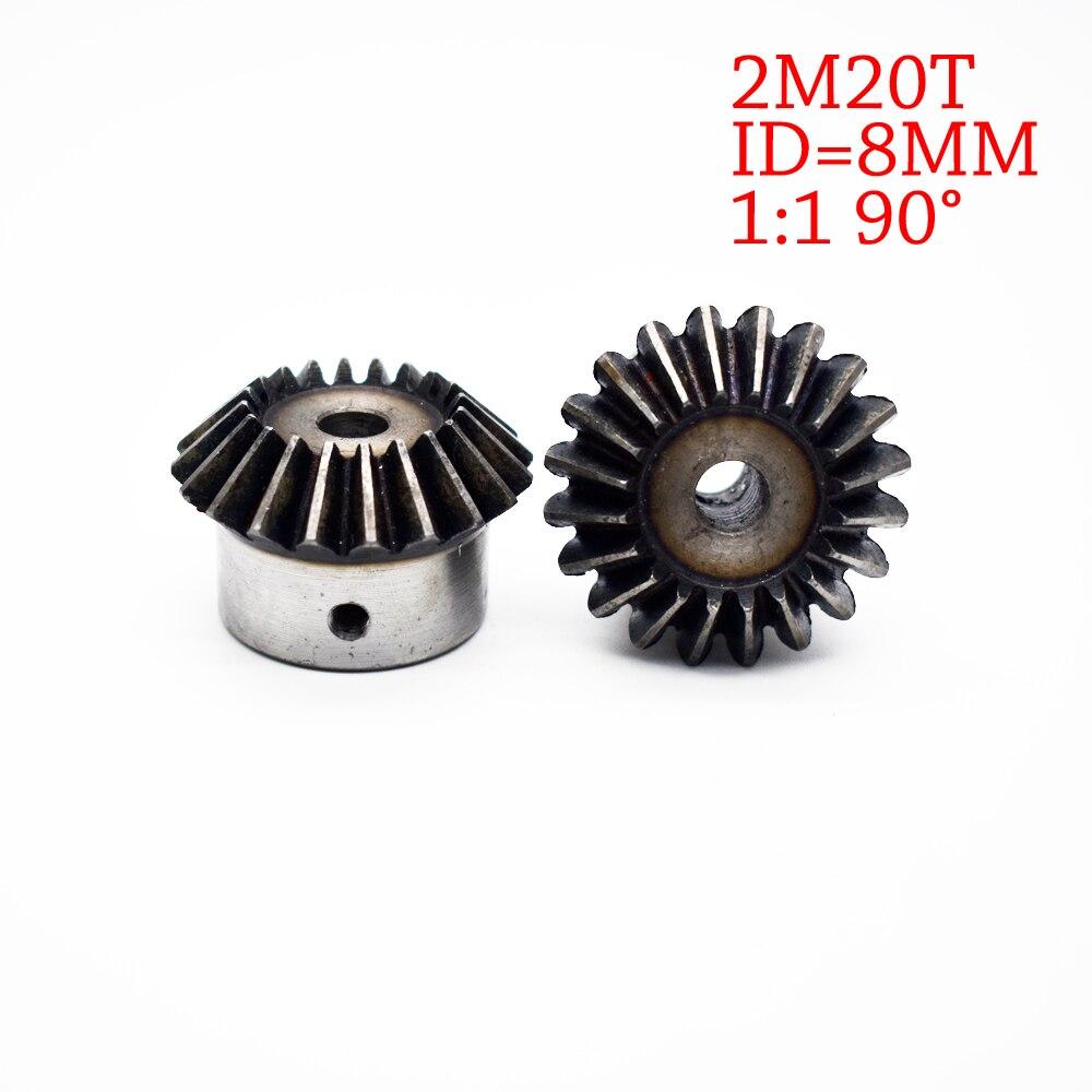 цена на 8mm 1:1 Bevel Gear 2 Modulus 20 Teeth Inner Hole 8mm 90 Degree Steel Gears Screw Hole M5