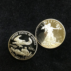 Image 4 - 10 Pcs Non magnetic The Freedom 2018 Liberty souvenir badge 1 OZ 24K real gold plated badge USA eagle 32.6 mm replica coin