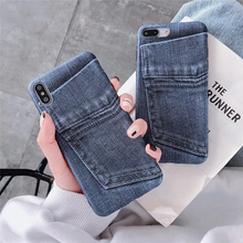 Samtsui Jeans Pocket Pattern IMD TPU Case For iPhone XR 7 8 Plus 6s Shockproof Fashion New Cover XMAX X XS Soft Capa