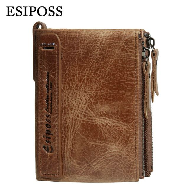 Hot!!! New Mens Small Real Genuine Leather Wallets Men Wallet Short Coin Purse Vintage ID Card Holder Purse With Coin Pocket