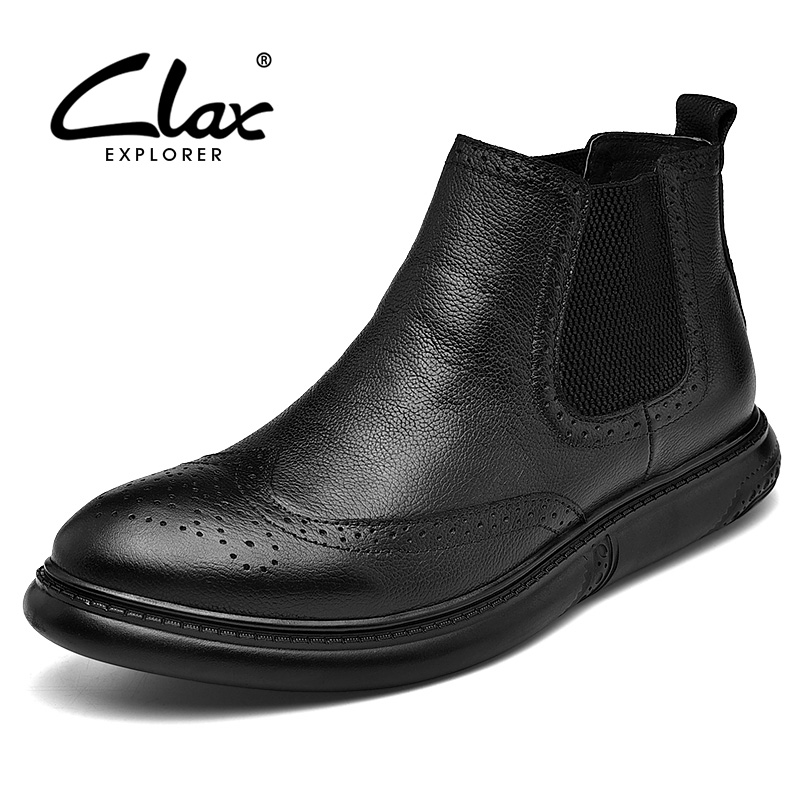 CLAX Chelsea Boots Men 2018 Spring Autumn Genuine Leather Casual Shoes Male Winter Boot Plush Fur Snow Boot Plus Size clax mens boot spring autumn ankle boot genuine leather male casual leather shoe winter boots men snow shoes fur warm plus size
