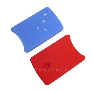 Image 3 - OkeyTech Silicone Car Key Cover Case Fob Shell For Renault Clio Scenic Megane 2 3 Duster Sandero Captur Twingo koleos Smart Card