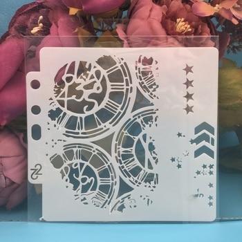 1Pcs 13cm Uhr Zifferblatt Rad Pfeil Schichtung Schablonen Malerei Sammelalbum Färbung Präge Album Dekorative Papier Karte Vorlage