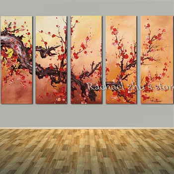 Hand Painted wintersweet Flower Tree 5 Panles Oil Painting On Canvas wintersweet Tree Wall Picturers For Living Room Home Decor