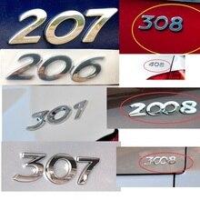 HARBLL 車のステッカー 3D シルバーリアトランクエンブレムバッジデカールのためのプジョー 206 207 307 308 301 2008 3008 408 508 406 カースタイリング