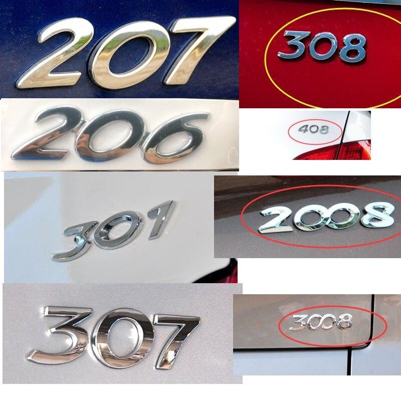 HARBLL 3D Prata Traseiro Trunk Emblema Do Emblema Do Decalque Etiqueta Do Carro Para Peugeot 206 207 307 308 301 2008 3008 408 508 406 Car Styling