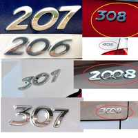 HARBLL Car Sticker 3D Silver Rear Trunk Emblem Badge Decal For Peugeot 206 207 307 308 301 2008 3008 408 508 406 Car Styling