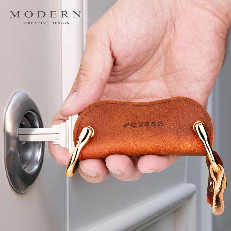 Moderno-Brand New 100% Titular Organizador Inteligente Couro Genuíno Chave Carteira Chave Chaveiro Criativo Homem de Viagem Presente da Mulher