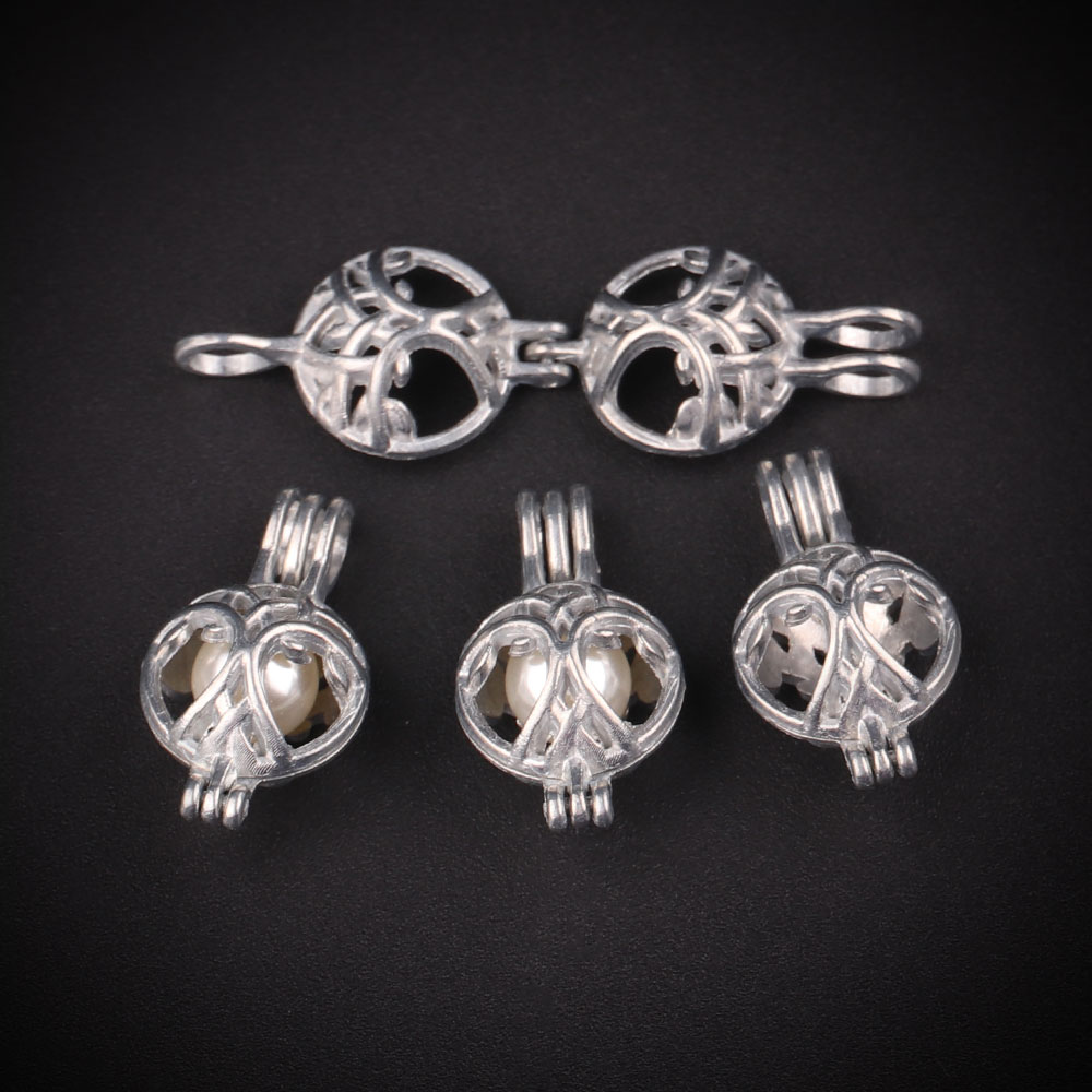 10pcs Silver Hollow Round Pearl Cage Jewelry Making Supplies Bead Cage Pendant Essential Oil Diffuser For Pearl Jewellry
