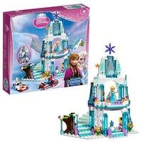 디즈니 냉동 297 개 엘사 반짝이는 얼음 눈 성 안나 올라프 공주 모델 빌딩 블록 벽돌 소녀 장난