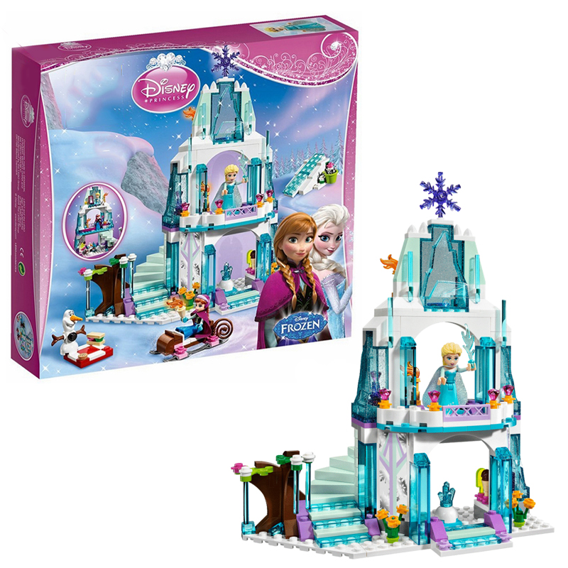 Disney Frozen 297Pcs Elsa's Sparkling Ice Snow castle Anna Olaf Princess Model Building Blocks Brick Girl With Toy