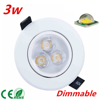 10pcs free shipping Dimmable 3W 5W 7W led Ceiling Light spotlight CREE LED downlight  white shell cool warm white light