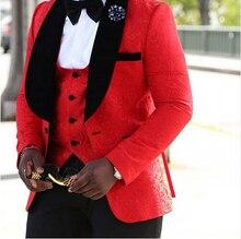 (Куртки + Жилет + Брюки) 2017 Новый Мужские Костюмы Тонкий Сшитое Смокинг Жениха Мода Bridegroon Делового Дресс свадебные красные Костюмы Blazer(China (Mainland))