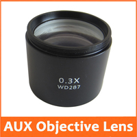 0.3X School Lab Educational AUX Auxiliary Objective Lens for Stereo Microscope Barlow Attachment WD=287mm