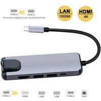 5 em 1 USB Tipo C Hdmi Hub USB Hub C para Gigabit Rj45 Ethernet Adapter Lan para Macbook Pro Raio 3 Porta Carregador USB-C p18