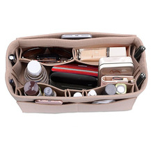 Womens make-up organizer / voelde doek invoegen opbergtas multifunctionele make-up tas make-up tas voor reisorganisator