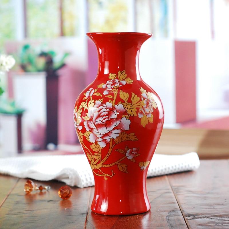 Wedding Gift Vase: Ceramics Red Gold Fish Tail Vase Modern Fashion Festive