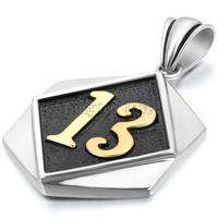 New Vintage Stainless Steel Necklaces Men Lucky Number 13 Tag Pendant With 22 Inch Chain Black