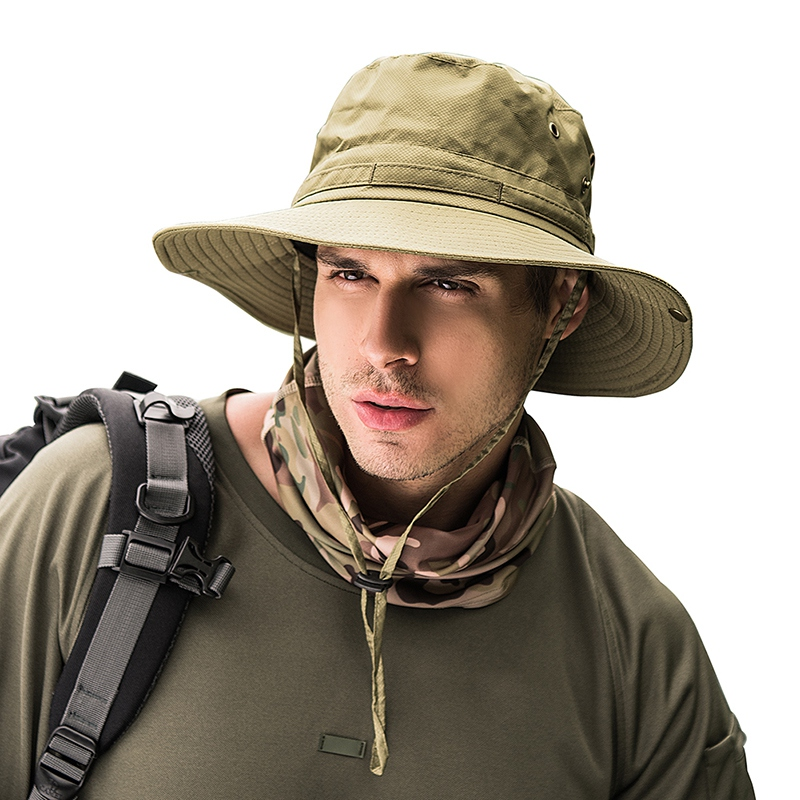 Fisherman Bucket Cap With String Quick Dry Sunshade Sports Hat Outdoor Fishing Cycling Climbing Hat Sportswear Accessories