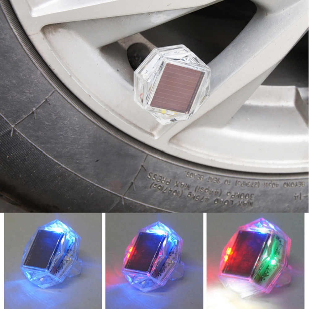 2018 1Pcs LED Solar car wheel singnal Tire Air Valve Cap Light Flash Decor Lamp High Brightness LED Chips to Avoid Accidents Hot