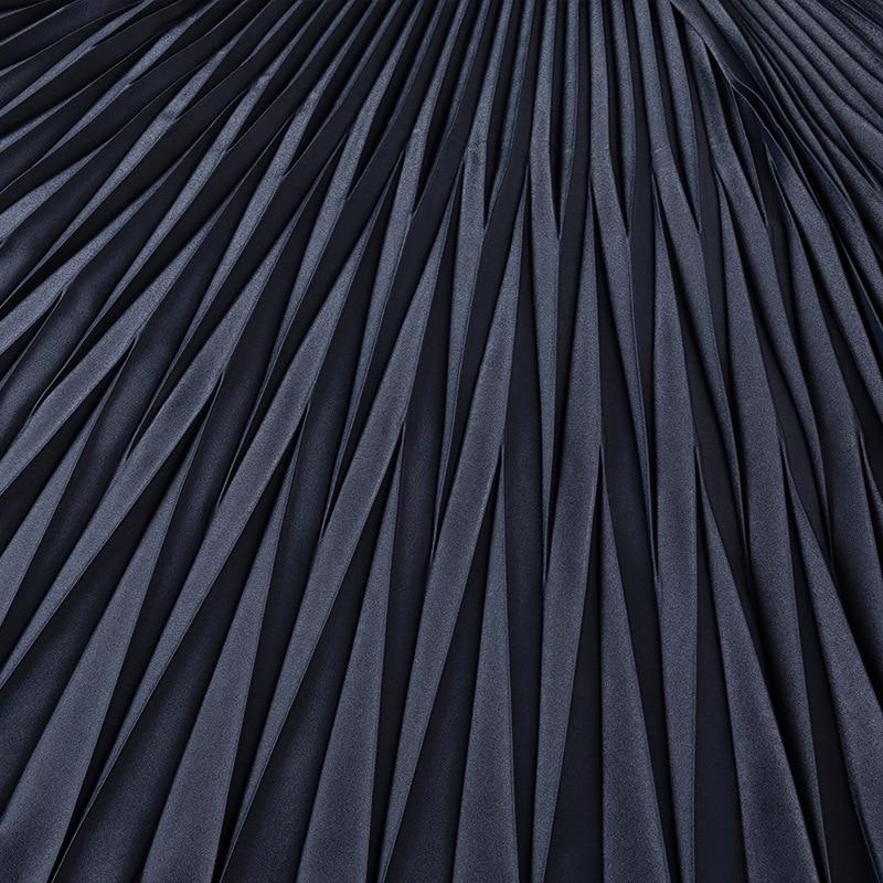Couleur Femme 2019 Jupe Swing Occasionnel Taille De D'hiver Et Section Femmes Noir Grande Solide Longue Plissée Big Automne Épaississement w178gxqq
