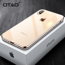 OTAO New Glass Phone Case For iPhone 7 8 6 6s Plus Transparent Glass Back Cover For iPhone XS MAX XR X 7Plus Soft Edge TPU Coque lukmall iphone case