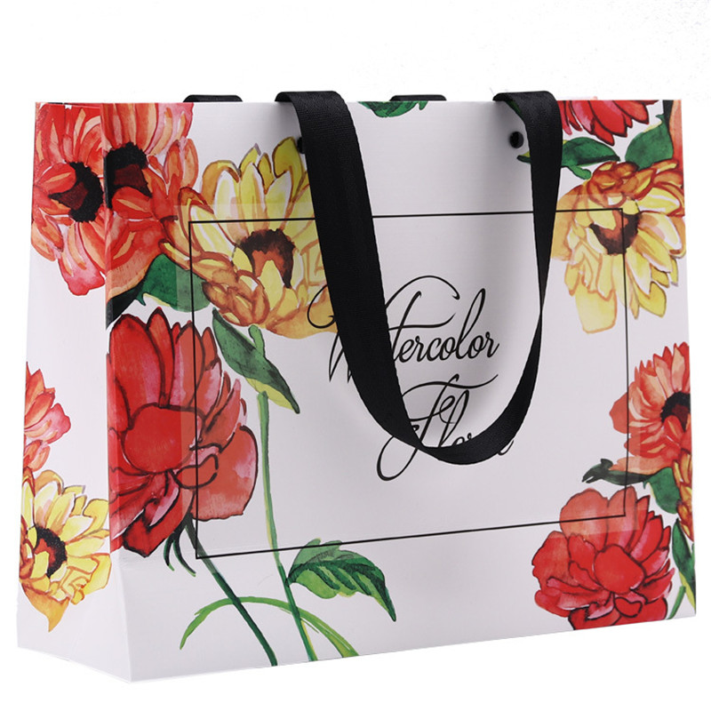 DoreenBeads Fashion Beautiful Flower Pattern Hand Gift Bags Paper Clothing Bags With Balck Rivet Rope For Shopping Package Bags