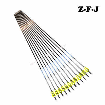 6/12pc Pure Carbon arrow Sp500 600 700 800 900 1000 ID 4.2 mm Plastic vane Stainless Steel Point Recurve Bow Hunting Shooting