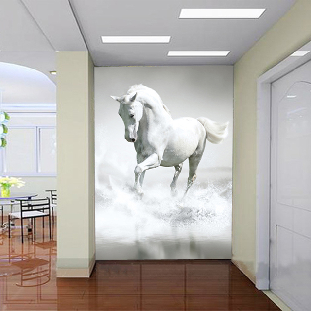 Entrance Hallway White Horse Wallpaper TV Backdrop Continental Wall Bedroom  Wallpaper Large 3D Mural  Entrance. Horse Wallpaper For Bedrooms   s rk com