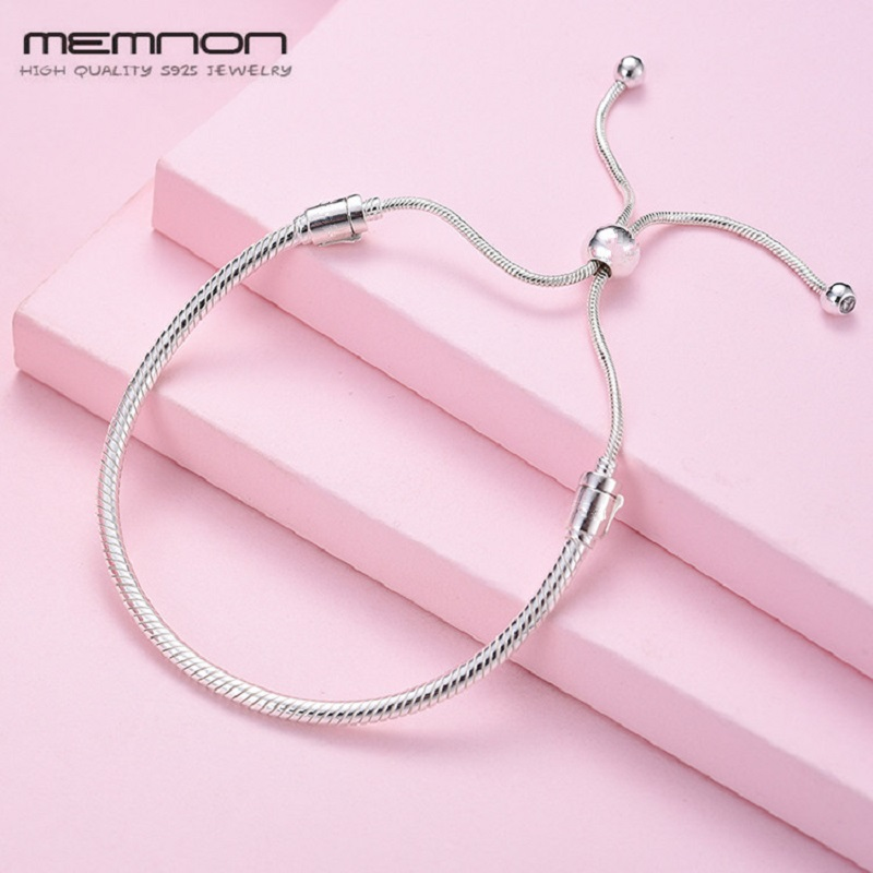 Memnon new spring 925 sterling moments Silver Sliding Bracelets for women fit silver charms beads DIY bangles fine jewelry YL076 memnon