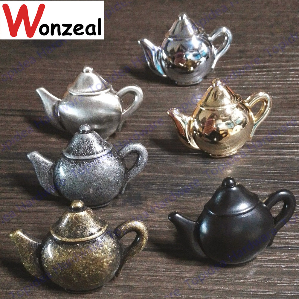 Zinc Alloy Black Coffee Teapot Antique Furniture Knobs Alloy Drawer Door Closet Cupboard Pull Handle Cabinet Knobs And Handles 10 inch long cabinet handles and knobs drawer pull for furniture and cupboard simple wardrobe handle zinc alloy door handle