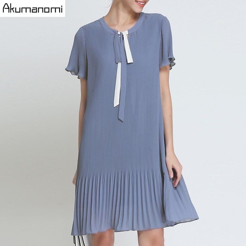 Summer Chiffon Draped Dress Women Clothing Blue Lace-up O-neck pleated Short  Sleeve 7bac61bc47af