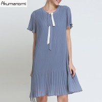 Summer Chiffon Draped Dress Women Clothing Blue Lace up O neck pleated Short Sleeve Dress Plus Size 5XL 4XL 3XL 2XL XL L M